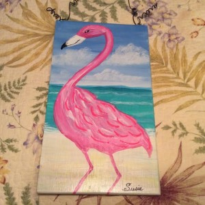 pinl flamingo plaque