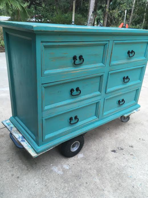 Teal Distressed Dresser